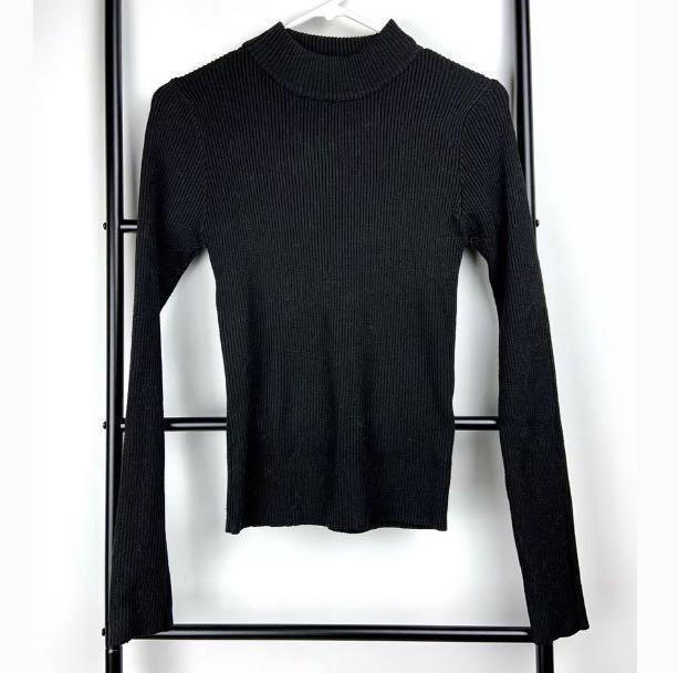 Miss Valleygirl sz S/M black sweater jumper knit top winter basic smart casual