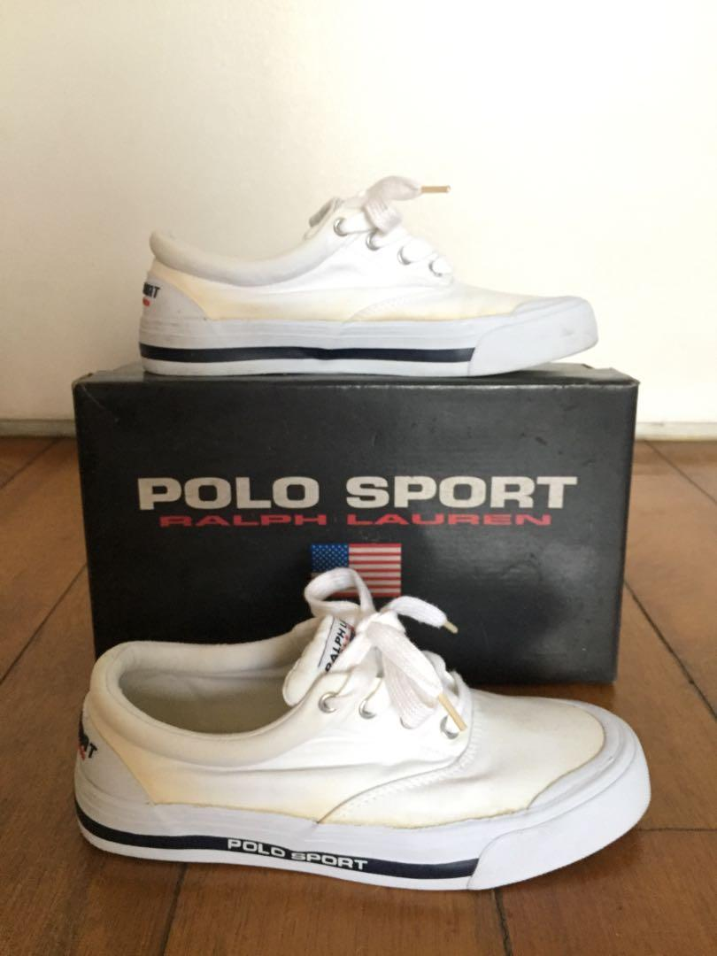 Polo Sport RL white canvas sneakers