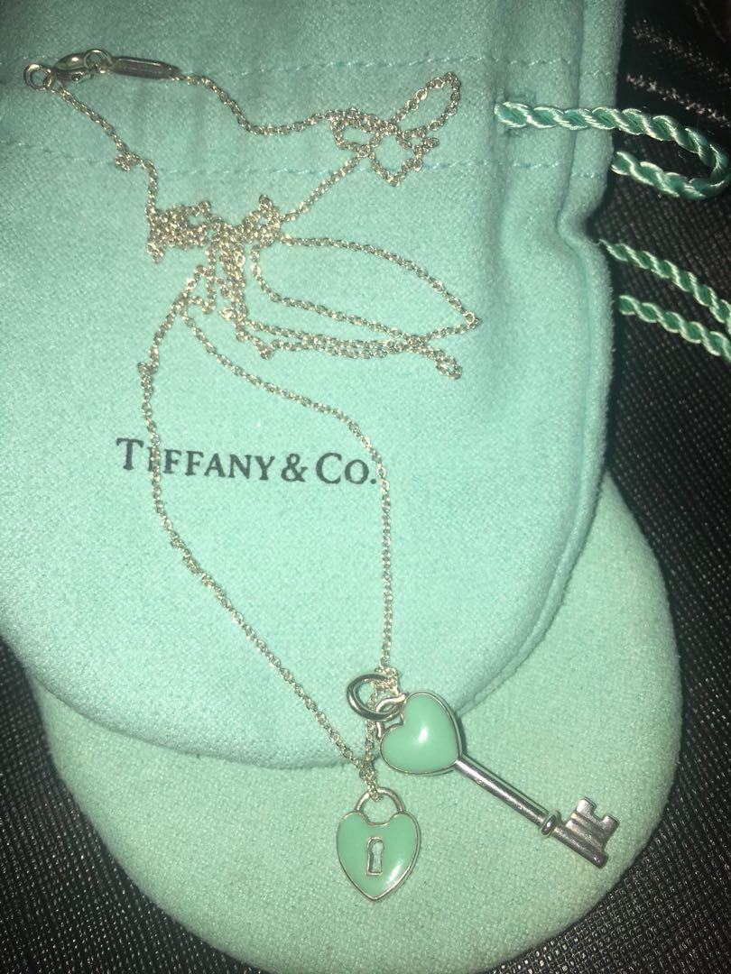 Preloved Authentic Tiffany Co 24 Blue Enamel Heart Key Silver Necklace Retired Heart Lock Charm Women S Fashion Jewelry Necklaces On Carousell