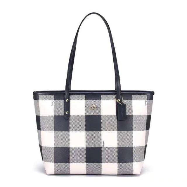 Premium Coach Buffalo plaid Zip tote shoulder bag hitam putih kotak