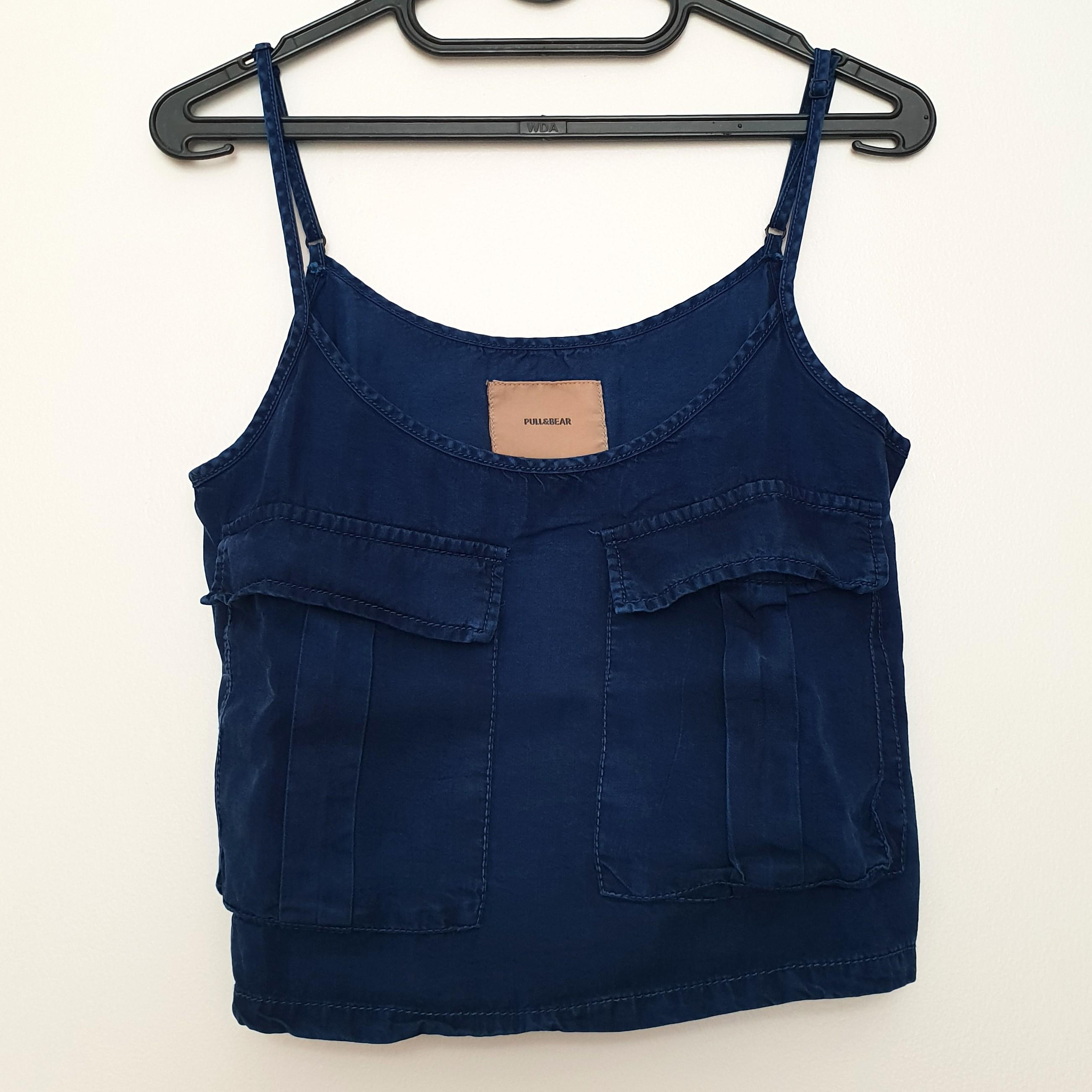 Pull and bear navy blue / jeans spaghetti straps crop top