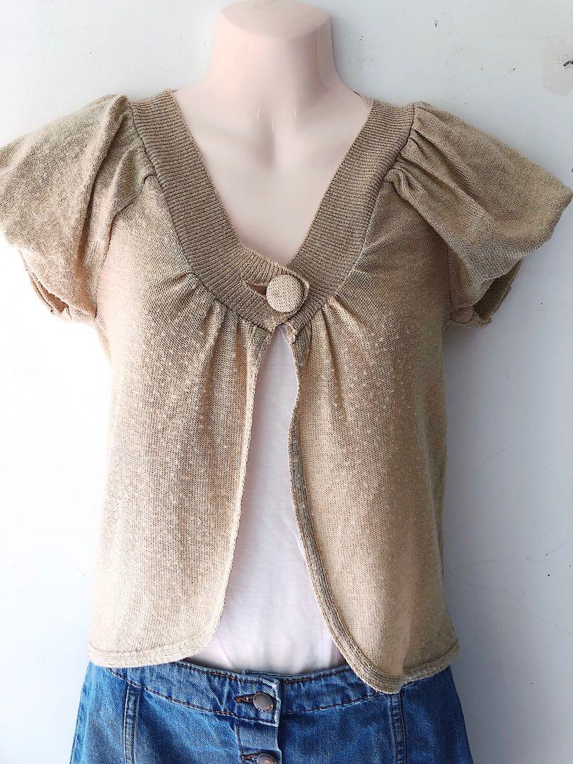 Sheer Gold Knitted Cardigan