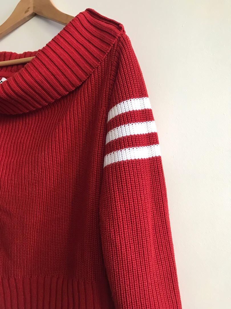 TWIIN Red Knit Stripe off Shoulder Jumper SZ S Dollskill