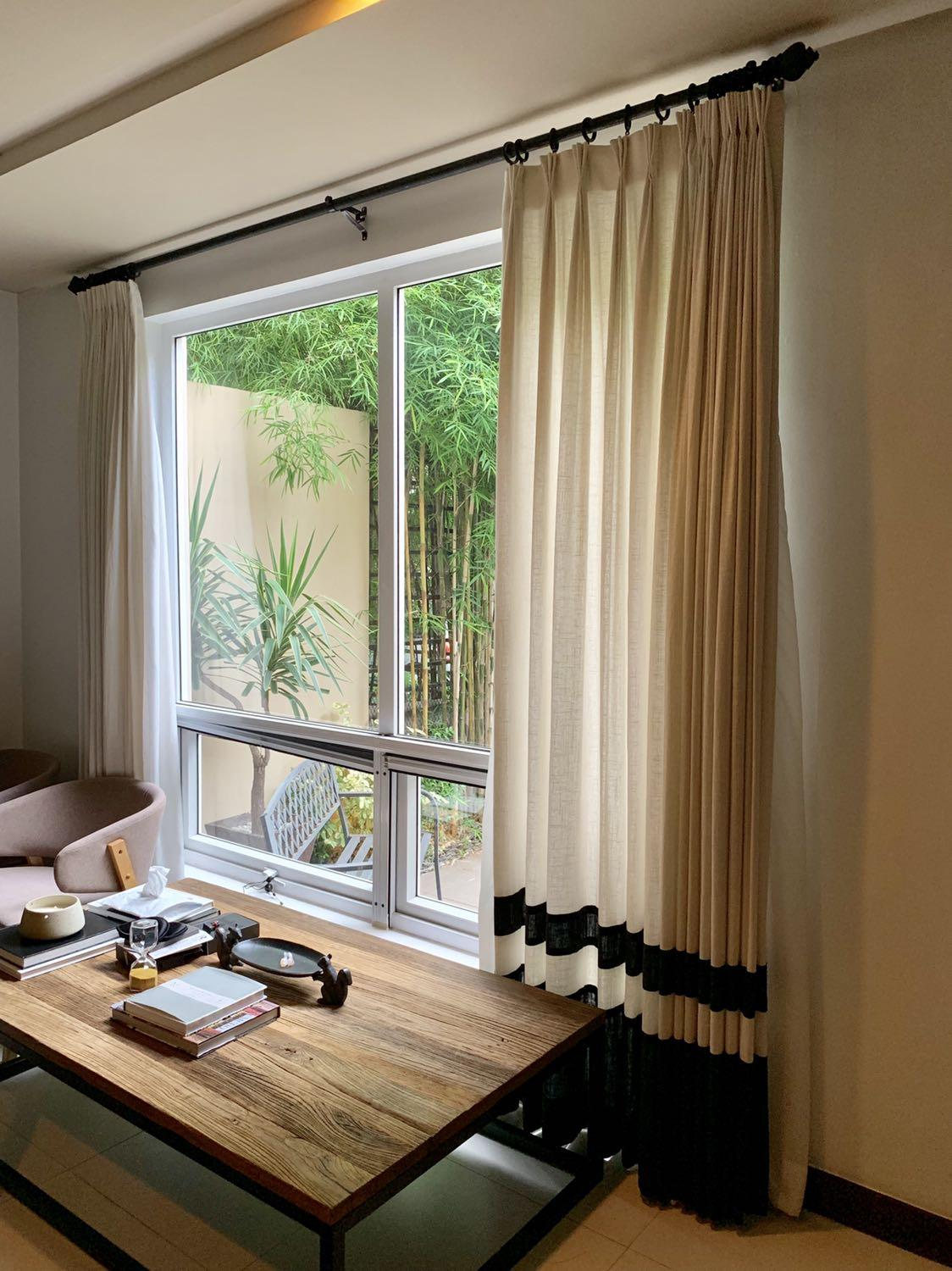 Two Toned Linen Curtains Living Area 1 On Carousell