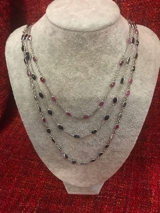 Silver natural stone necklace