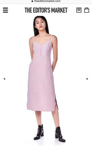 The editor's market TEM Varene cami slit dress in dust pink