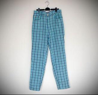 Vintage 古著藍色格紋褲 格紋 印花 高腰