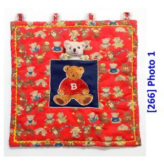 [266] Childrens Red Wall Deco with Teddy Bear