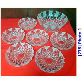 "[278] Set of ""Bohemia"" Crystal Bowl w 6 dessert plates"