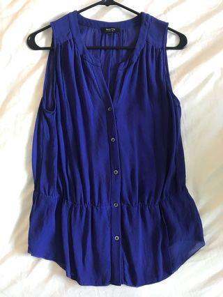Aritzia babaton blue silk peplum blouse size small