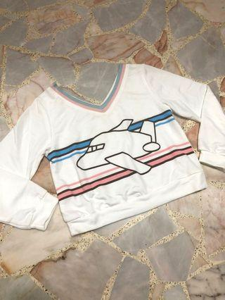 BN kawaii harajuku airplane v neck crop white pullover