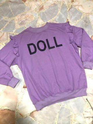 harajuku purple doll oversized pullover