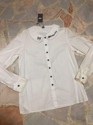 BNWT japanese miss kitty white long sleeve blouse