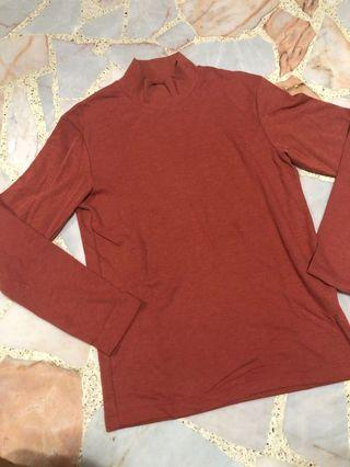 uniqlo oversized orange high neck long sleeve