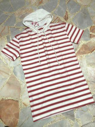 BNWT red & white striped hoodie short sleeve dress