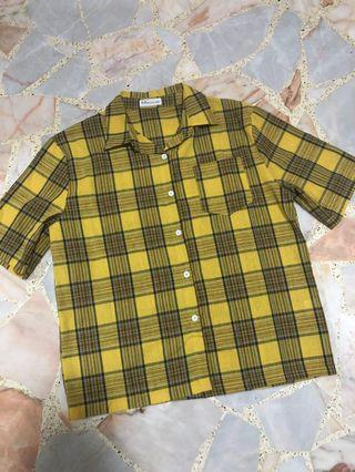 BN oversized yellow plaid checkered shirt