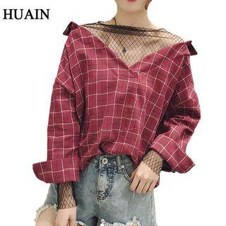 Plaid Mesh Top