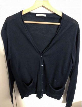 Celine 深藍色 薄身 羊毛 S碼 外套 Navy Wool Cardigan knit