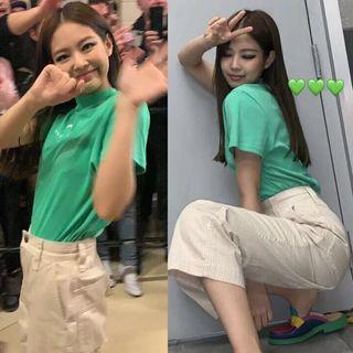 PO Blackpink Jennie Moon Letter Embroidered Korean Short Sleeve