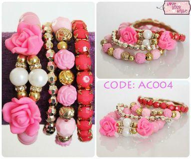 Bead Bracelet Floral Set - Pink