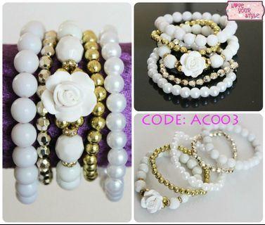 Bead Bracelet Floral Set - White