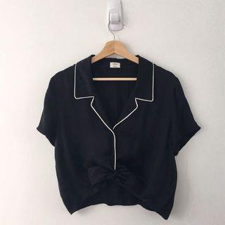 Aritzia Wilfred Tie Up Blouse