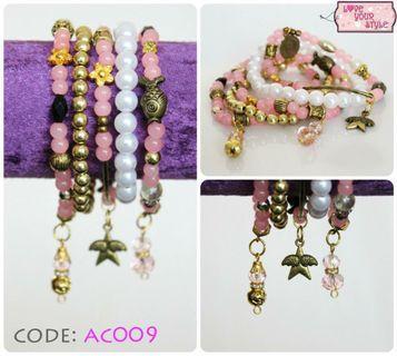 Charm Bracelet Set - Pink