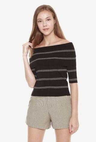 BN Sense Cold / Off Shoulder Striped Top in Black