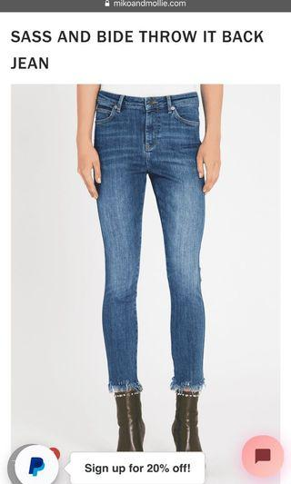 Sass and bide throw it back jeans (size 9)