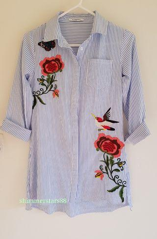 Glamorous Floral Embroidered Pinstripe blue/white shirt