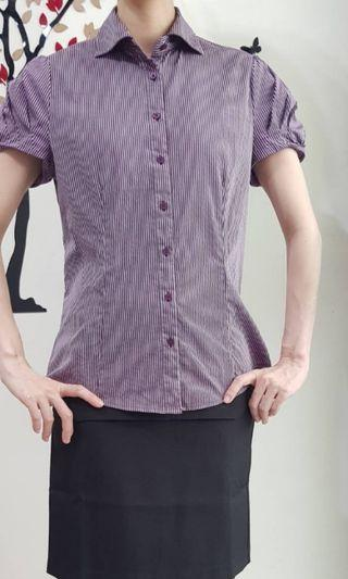 G2000襯衫 袖子有顯瘦設計 襯衫 小亮面,40號
