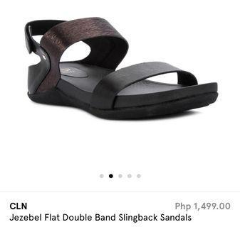 CLN. Black Double strap sandals. Slip ons