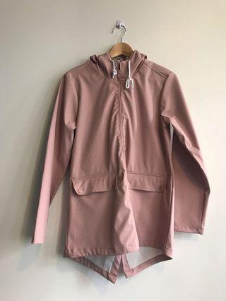 Boohoo Blush Festival Pink Hooded Rain Coat Jacket sz 8