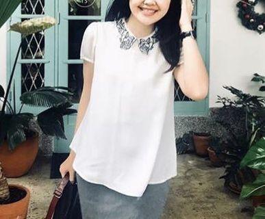Mozaic Collar White Blouse