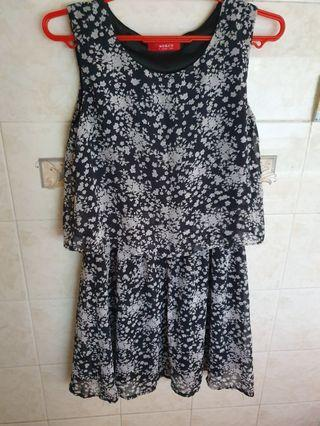 We&Co Black Tiered Floral Dress