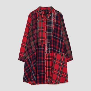 Zara 不規則格紋拼接襯衫式洋裝