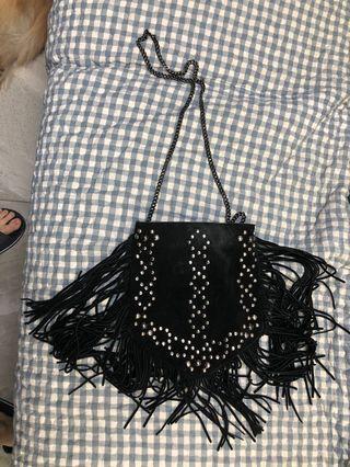 Zara bag猄皮流蘇民族風袋