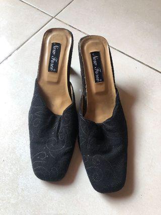 Sendal / selop wedges black