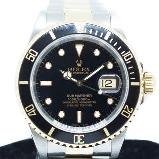 Preowned Rolex Submariner in 18K Half Yellow Gold Ref: 16613