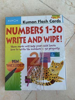 🚚 Kumon Flash Cards - Numbers 1-30 write and wipe (Brand new)