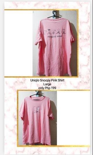 Uniqlo pink Snoopy shirt