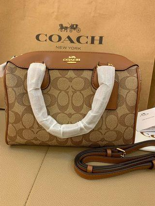 Ready Stock Authentic coach 32203 Bennett monogram light brown promotion