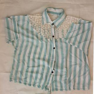 Chiffon mint green stripe blouse