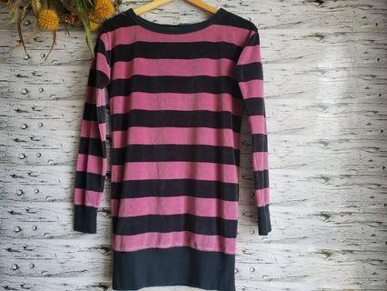 Juicy Couture striped velour pullover sweater.
