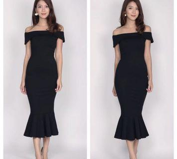 The Design Closet Black Off Shoulder Dress