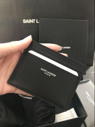 d579e07bb9d ️BNIB Saint Laurent Simple Card Holder Small Wallet Black Grained Leather  Ysl