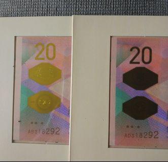 Same number Sg Bicentennial $20 note pair 318 292