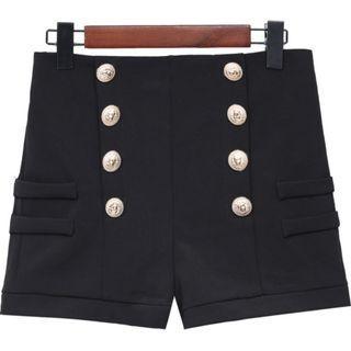 (SALES) Plus Size 4X Classic Black Sailor Buttons High-waist Zipped Korean Shorts