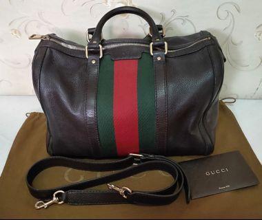 💯Authentic Gucci Vintage Web Green Red Stripes Boston Bag Leather Medium. #MRTRaffles