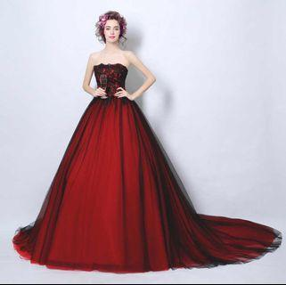Red wine wedding evening gown